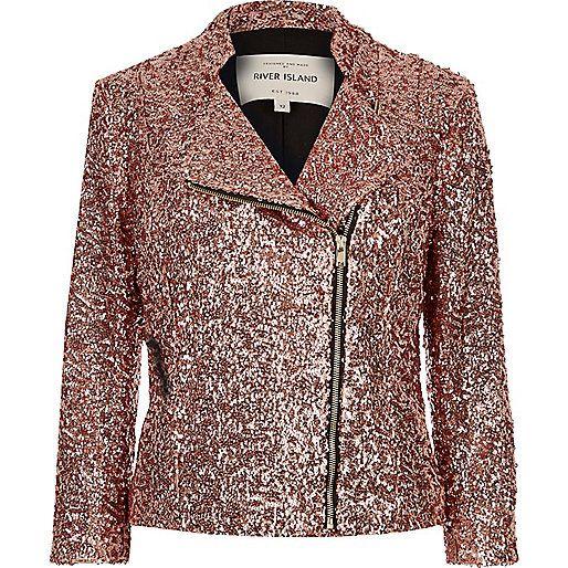 Perfecto rose à sequins Veste Métallique, Veste À Paillettes, Veste Rose,  Veste Marron 9c889b1acb3