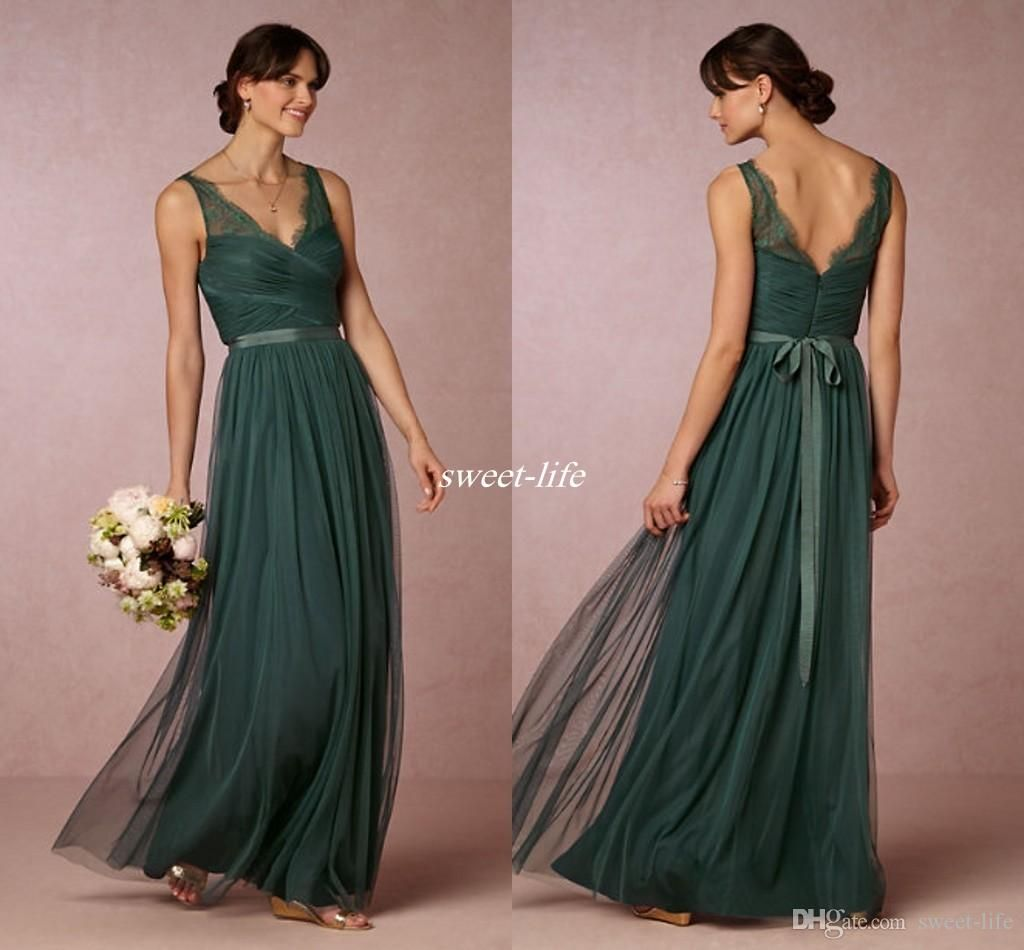 Elegant emerald green long bridesmaid dresses 2016 sheer v for Maid of honor wedding dresses