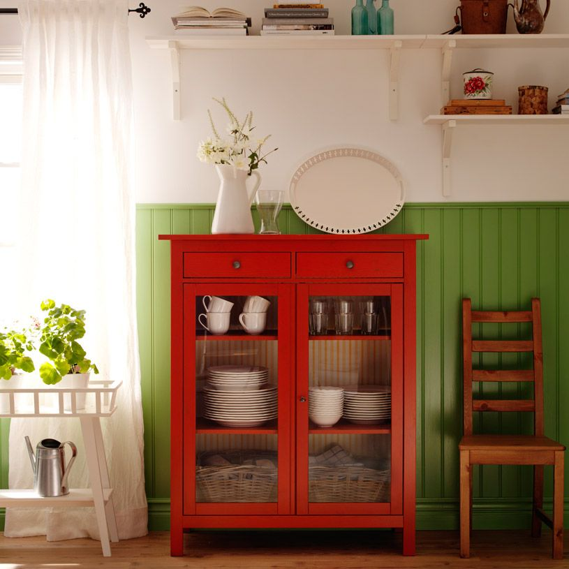 Hemnes Red Linen Cabinet With Tempered Glass Doors And Ekby Stilig White Wall Shelves