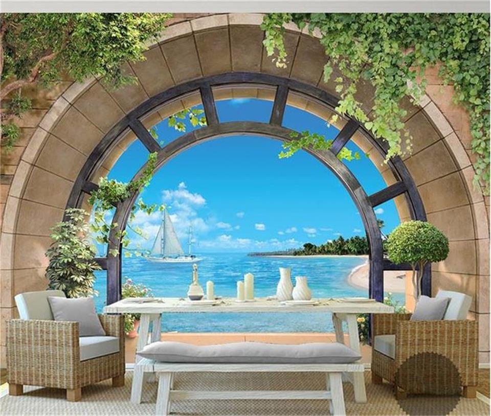 3d photo wallpaper mural living room European balcony sea