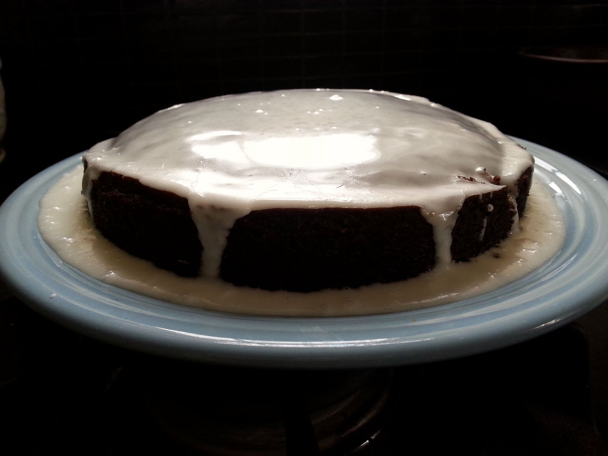 https://flic.kr/p/FMnKdc | Margaret Fox's Amazon chocolate cake | For some reason I thought it needed a glaze moat. Anyway, it's a fun cake without eggs. The ingredients are simple. recipe: f52.co/1dlTLJS