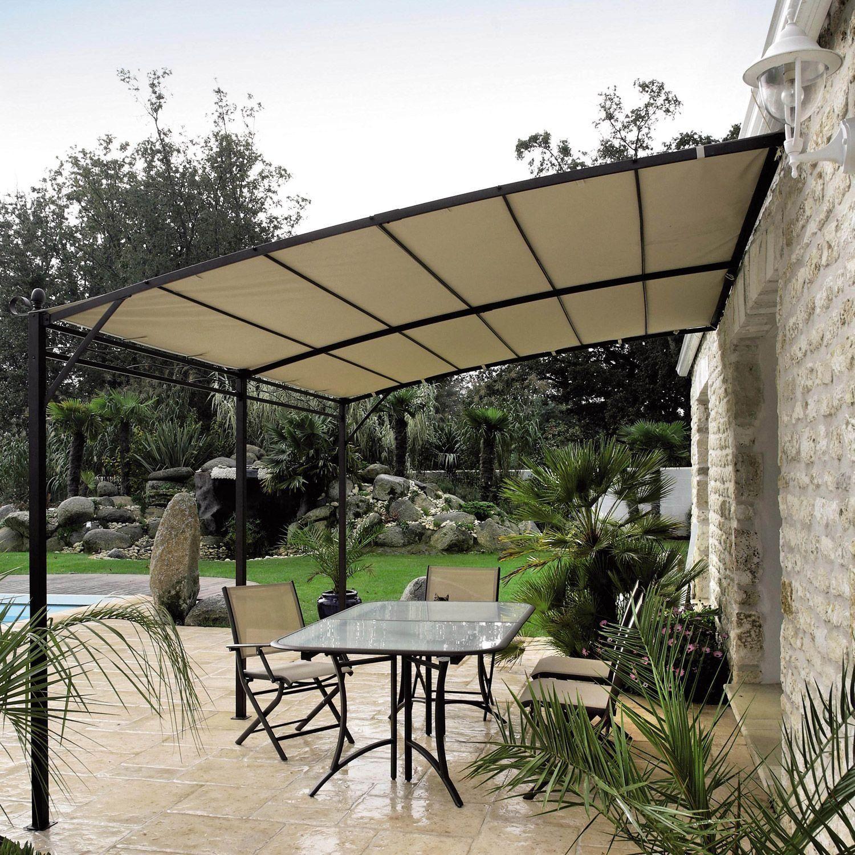 Tonnelle Acier Complete Armature Toile Privilege Proloisirs Port Offert Tonnelle Adossee Pergola Pieces A Vivre Dans Le Jardin
