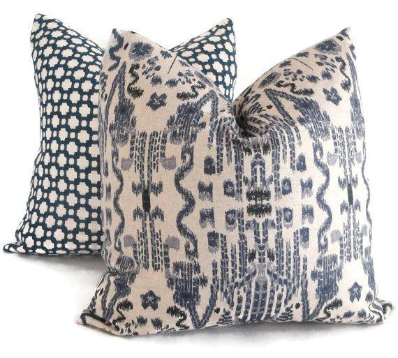 Indigo Blue Ikat Decorative Pillow