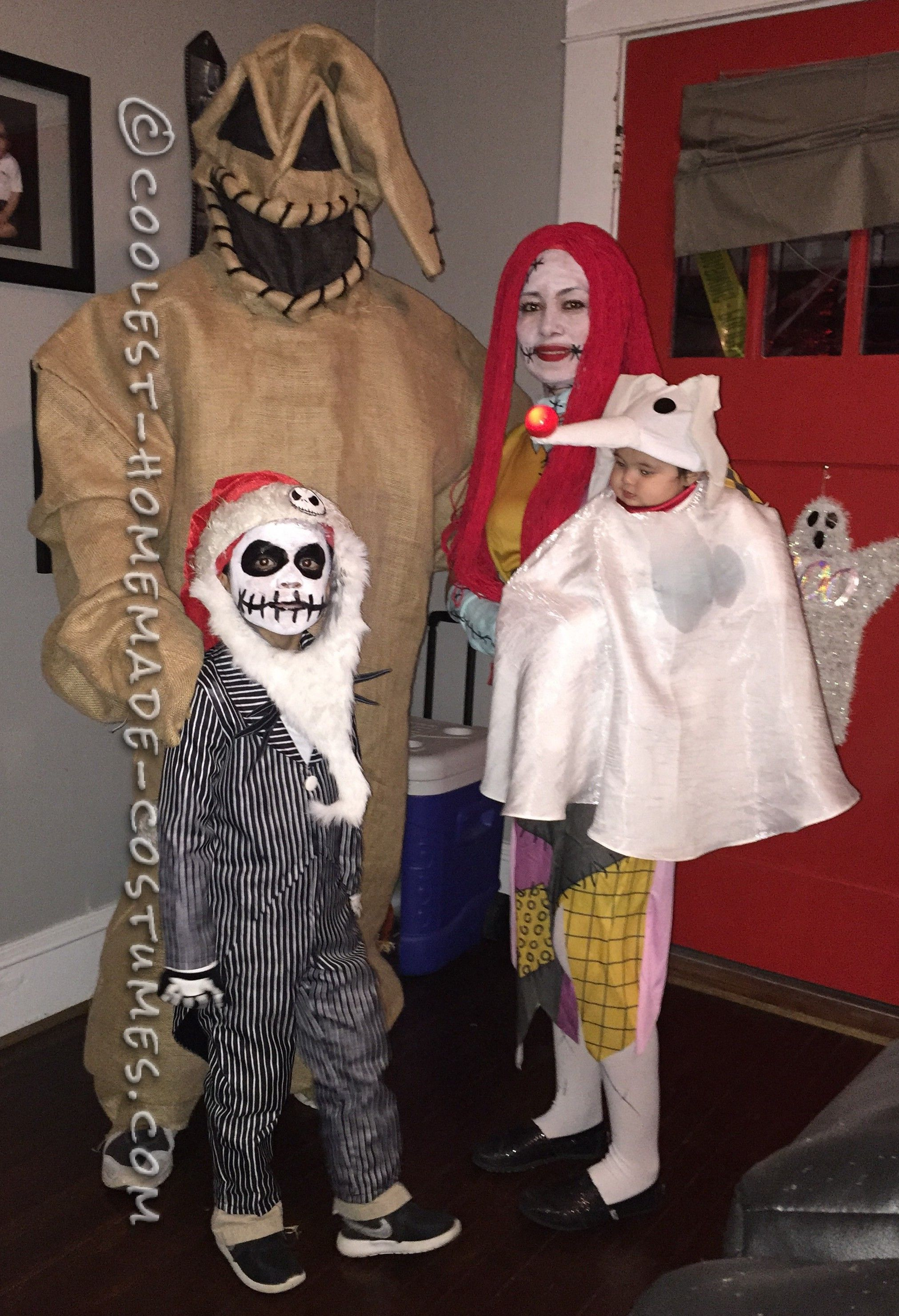 family nightmare before christmas theme baby zero costume coolest homemade costumes - Nightmare Before Christmas Halloween Costume