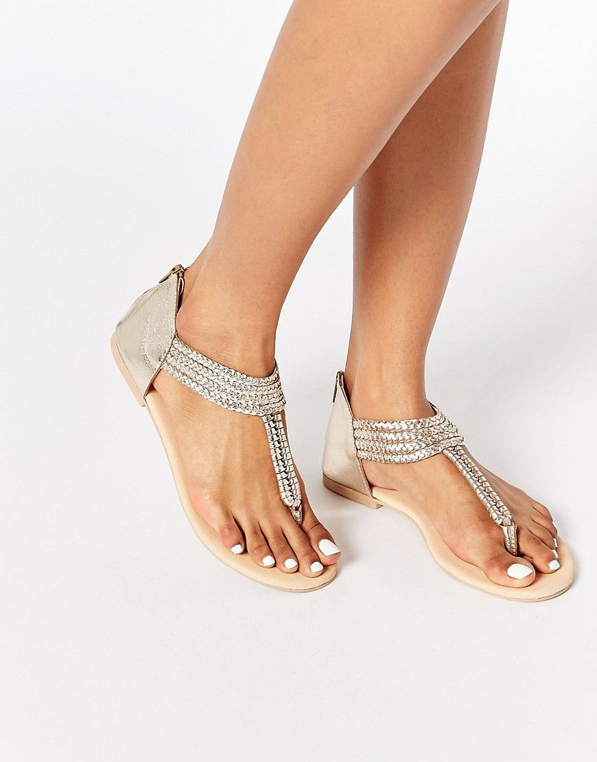 aec0f74240d1a Image 1 of Oasis Gold Plait Leather Toe Post Sandal