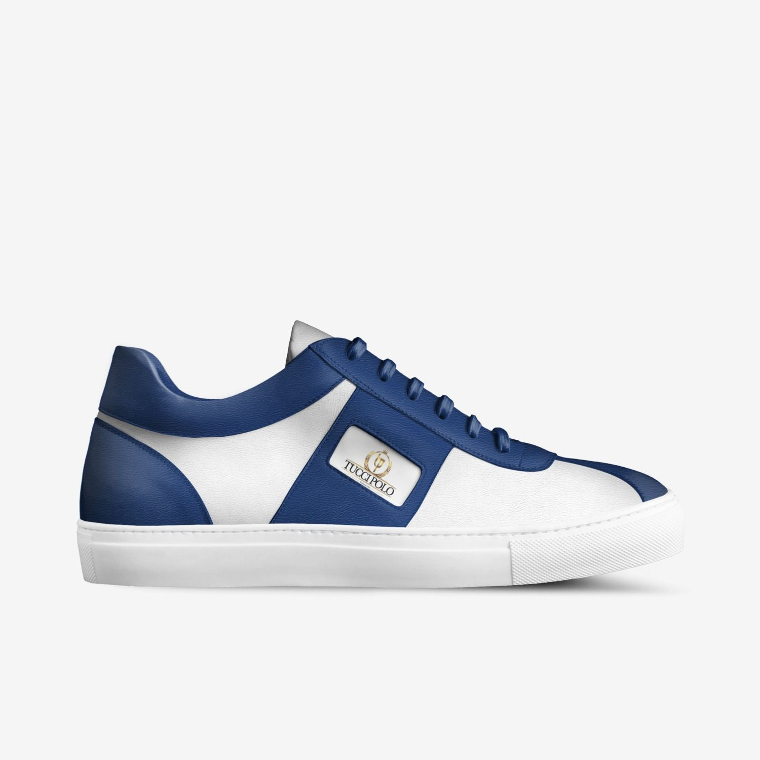 Womens Italian Sneakers : TucciPolo Womens Minimal Low Top Blue and White  Luxury Sneakers Custom Made