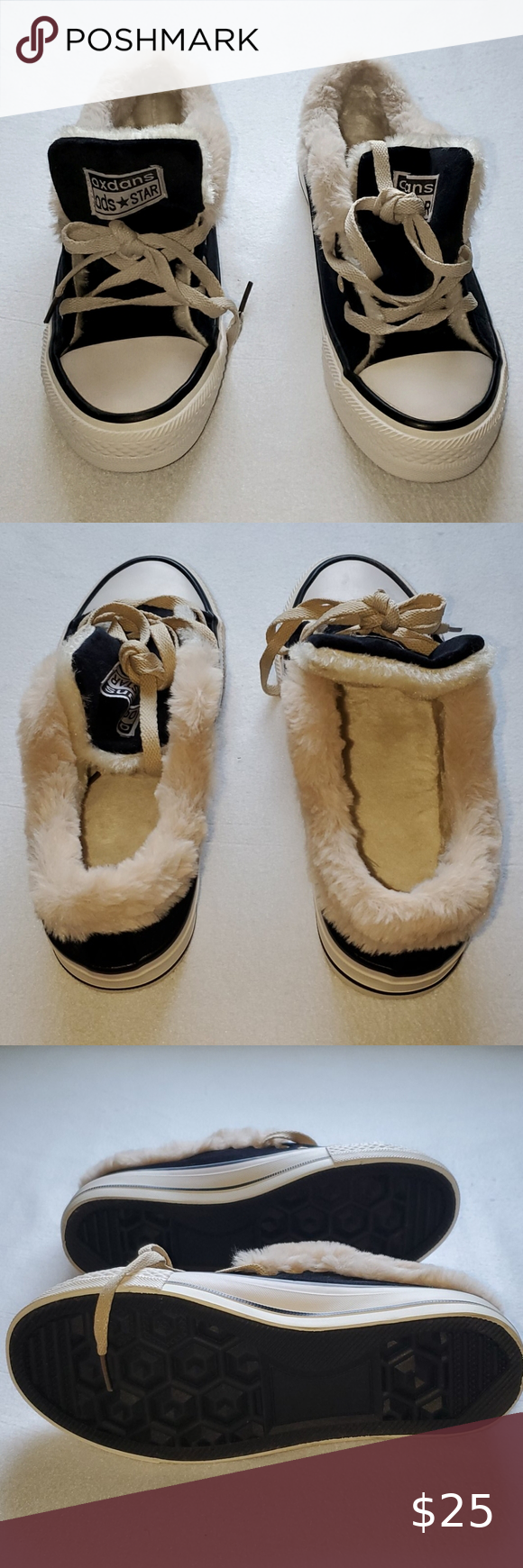 Oxdans Ods Star Black Whire Shoes With Fur Nwt Star Shoes Black And White Shoes Steve Madden Sneakers