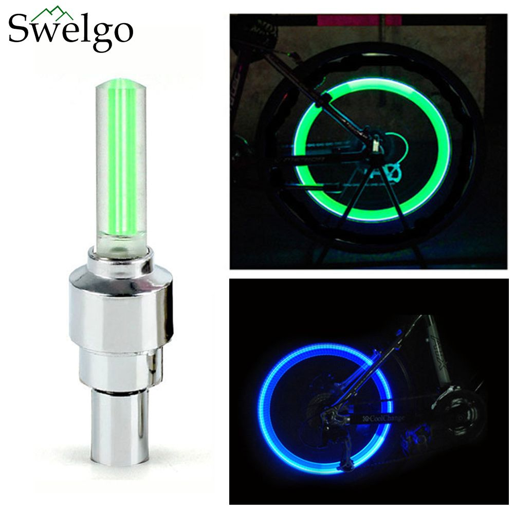 2 X Led Lamp Flash Tyre Wheel Valve Cap Light For Car Bike Bicycle