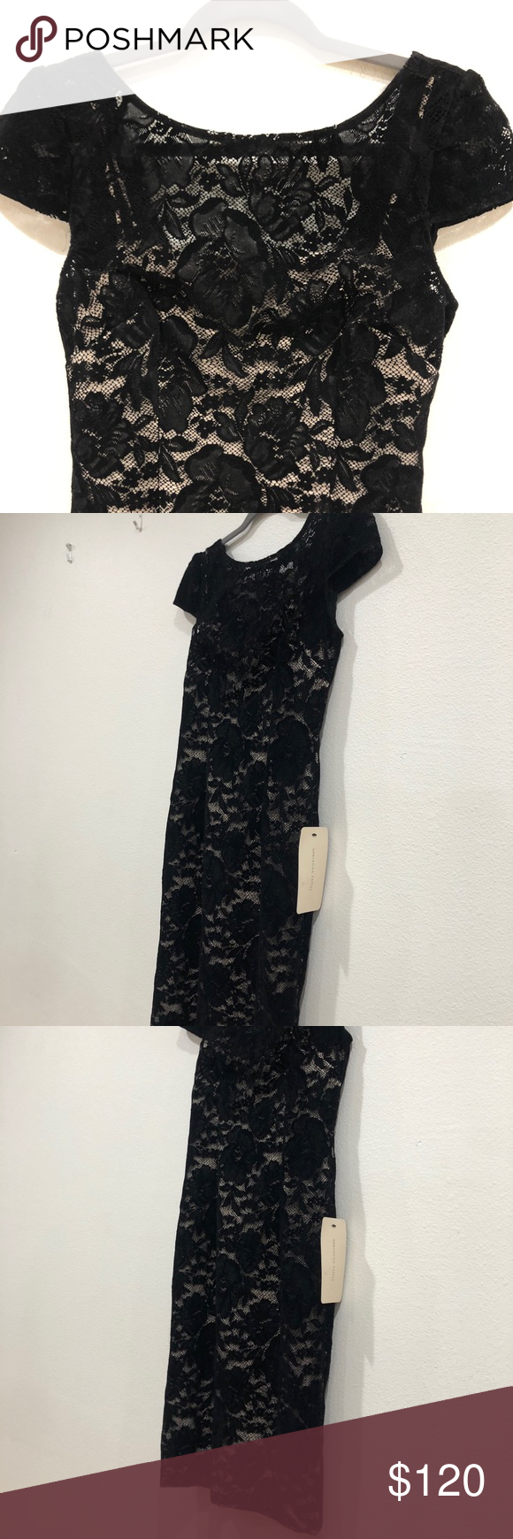 Black Lace Dress With Cream Lining Black Lace Dress Lace Dress Dresses [ 1740 x 580 Pixel ]