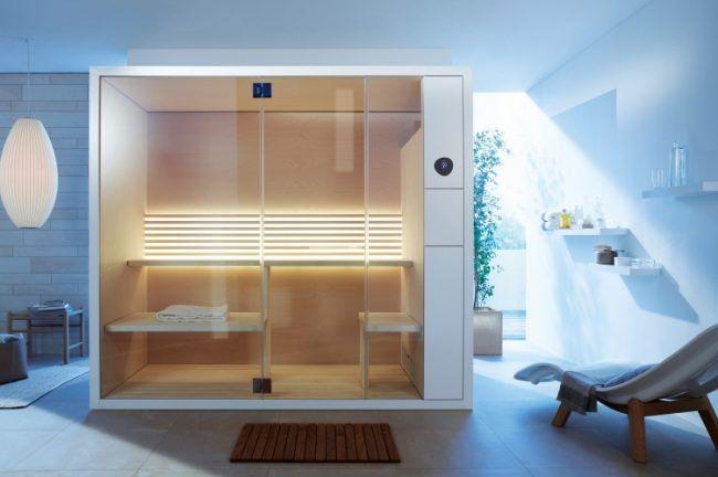 bad-sauna-planen-beachten-modernes-design-kabine-liege-badezimmer ...