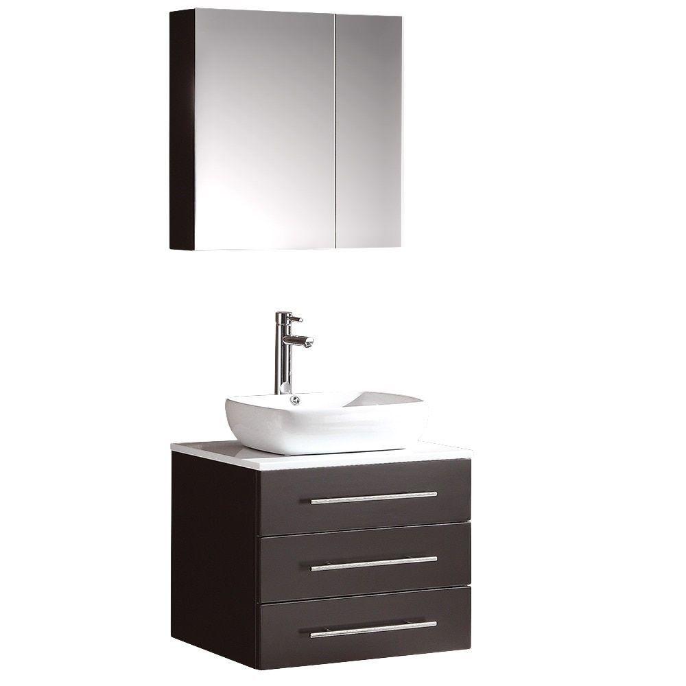Fresca Modella Espresso Bathroom Vanity and Medicine Cabinet, White ...