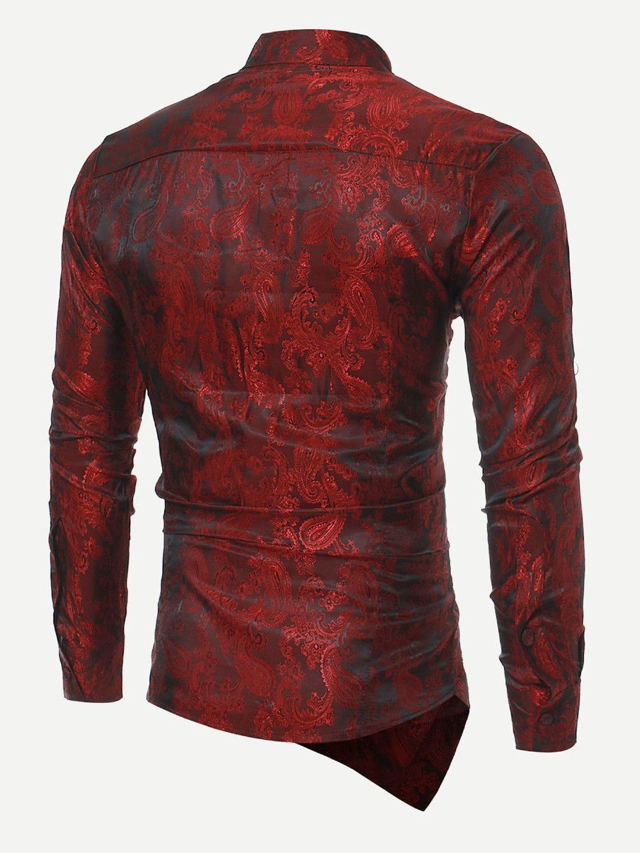 57be2849fb Men Jacquard Asymmetric Hem Shirt | Menswear | Shirts, Mens shirts ...