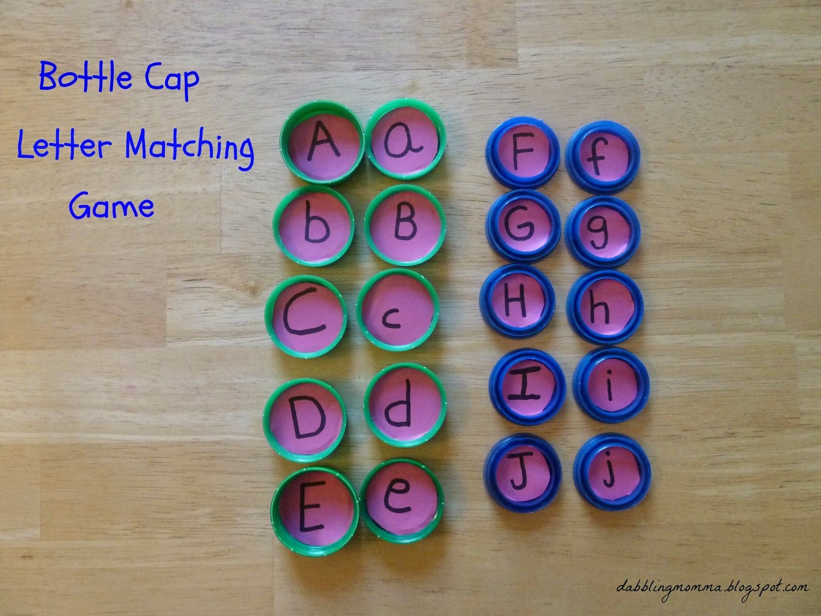Dabblingmomma Bottle Cap Letter Matching And Memory Game