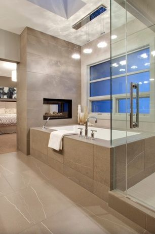 Contemporary Master Bathroom with Pendant light, frameless showerdoor, Master bathroom, Arizona travertine troy tile