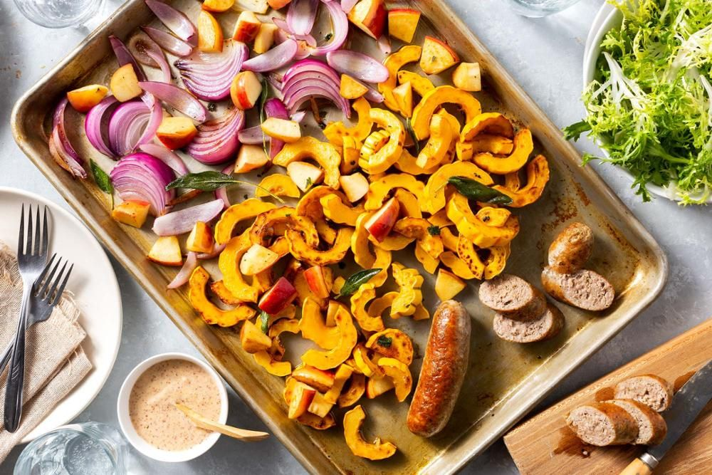 Sheet pan pork sausages with roasted apple and squash