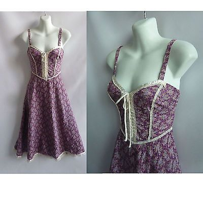 vintage 70s gunne sax dress size s purple calico floral