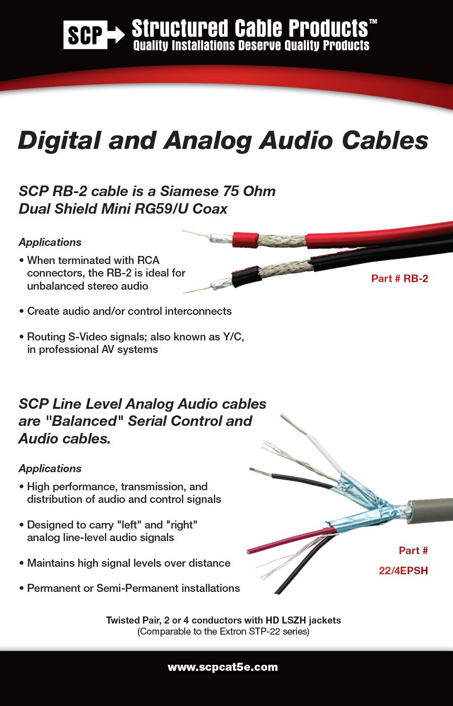 Structured Cable Products 22 2esh Balanced Line Level Audio 2c 22 Awg Tc Twisted Pair Black Red Al Fo Structured Cabling Signal To Noise Ratio Audio Cables
