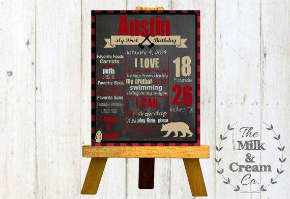 Lumberjack Birthday Chalkboard Lumberjack by themilkandcreamco Lumberjack Birthday Chalkboard- Lumberjack Woods BirthdayPoster- First Birthday Winter Photo Prop, Printable File