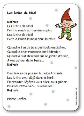 Chanson Les Lutins De Noel Paroles Illustrees A Imprimer