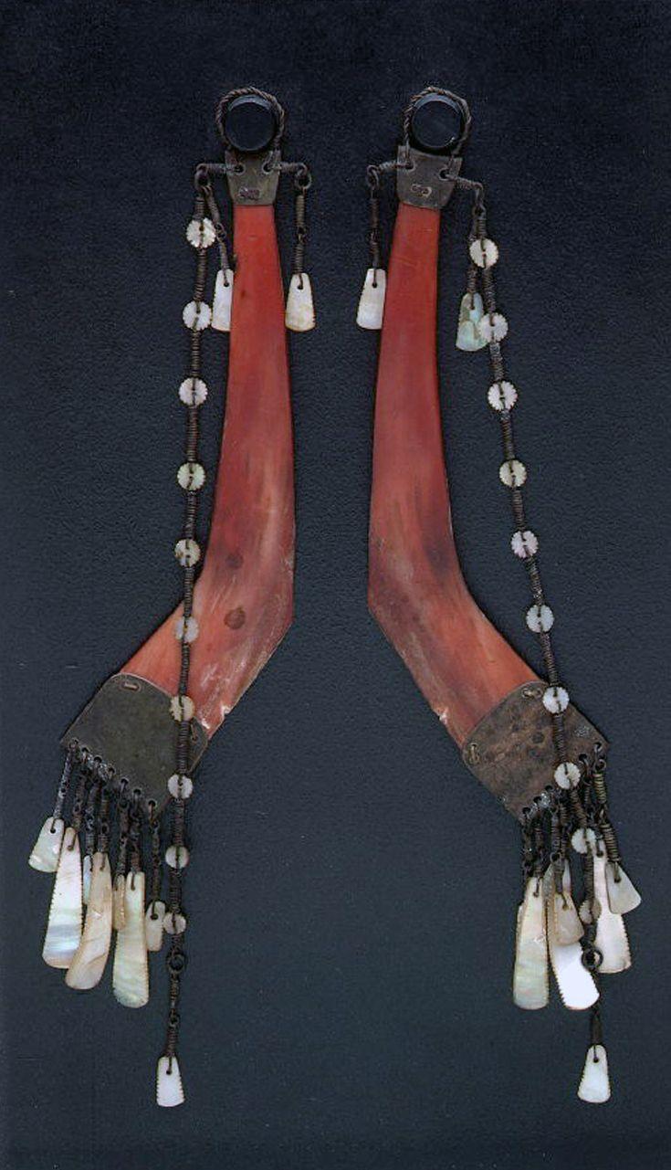 Philippines | Men's earrings ~ batling ~ from the Ilongot people | Hornbill Beak, Brass Wire And Brass Sheet, Shell