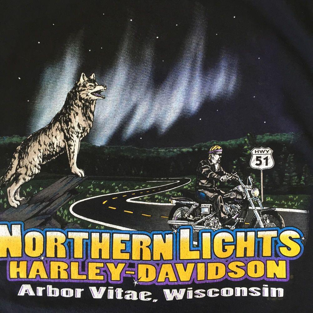 Harley-Davidson  L T-Shirt #Wolf Biker Hwy 51 Arbor Vitae WI Northern Lights USA #HarleyDavidson #GraphicTee #biker