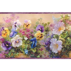 Google Image Result For Http Ecx Images Amazon Com Images I 614ifhkp3hl Sl50 Pansies Wallpaper Border Purple Pansy