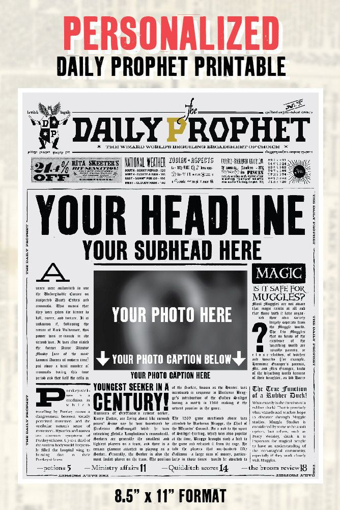 Personalized Daily Prophet Front Page PDF Potter by Perfectionate