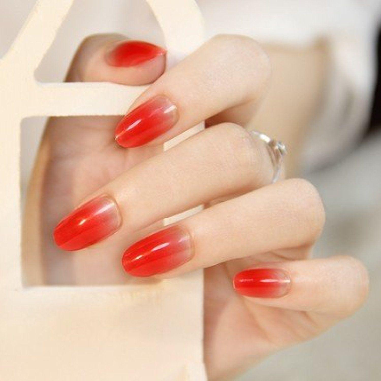 24PCS/Set Oval False Nails Fake Nail Tips French Manicure Pretty ...