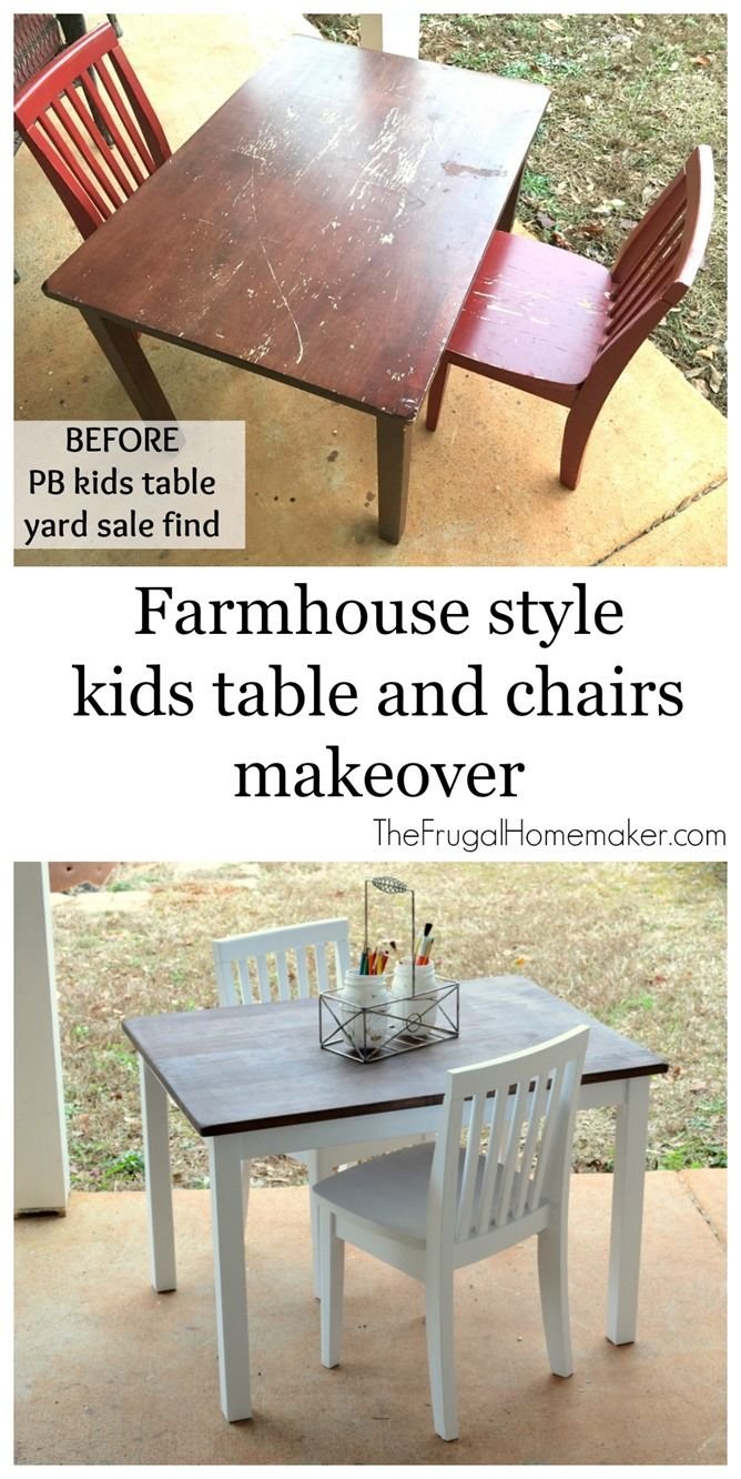 Farmhouse style kids table and chairs makeover crafts bigger