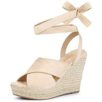 ae3049d6a9d Allegra K Women s Espadrille Crisscross Platform Wedges Heel Lace Up Beige  Sandals - 7.5 ...