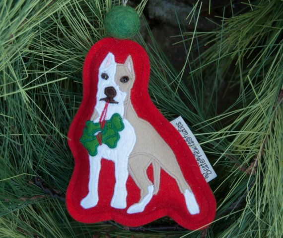 pitbull ornament perfect for your christmas by bestfriendsstudios