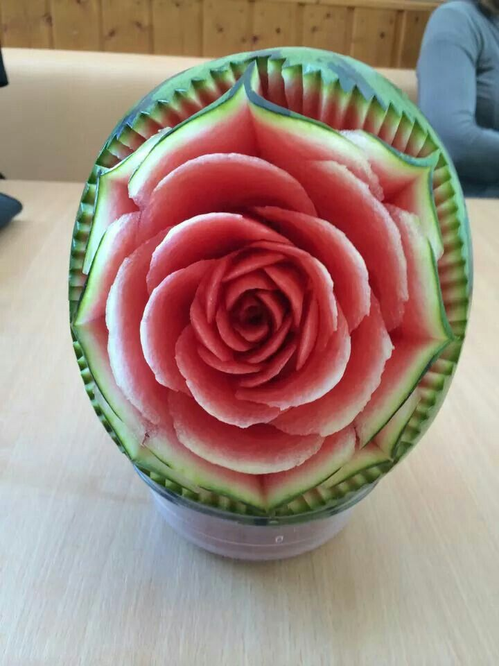 Cool  not cake but cool. Carved rose in watermelon