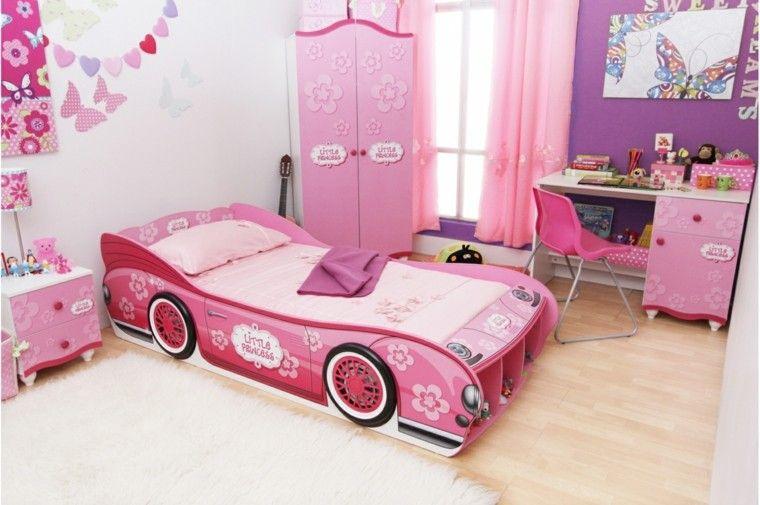 cama coche rosa armario habitacion ideas | muebles | Pinterest ...