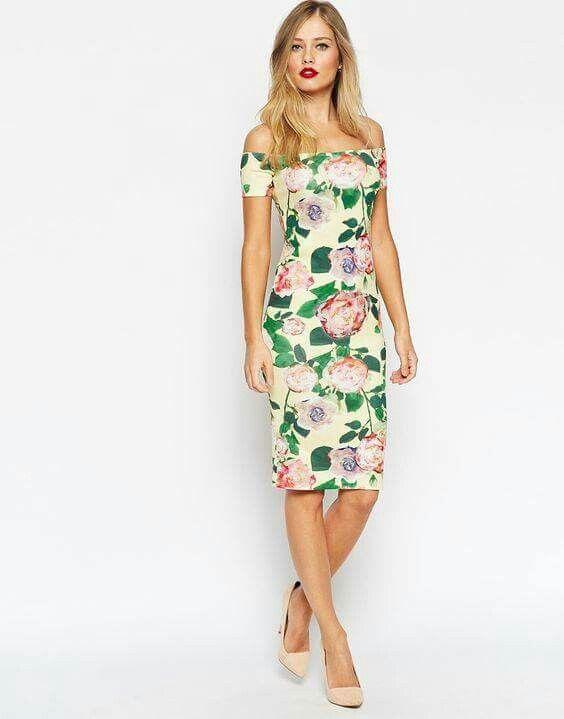 Flores, Hombros Descubiertos | Vestidos | Pinterest