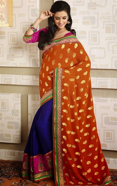 Attractive Blue and Deep Orange Color Wedding Saree Indian
