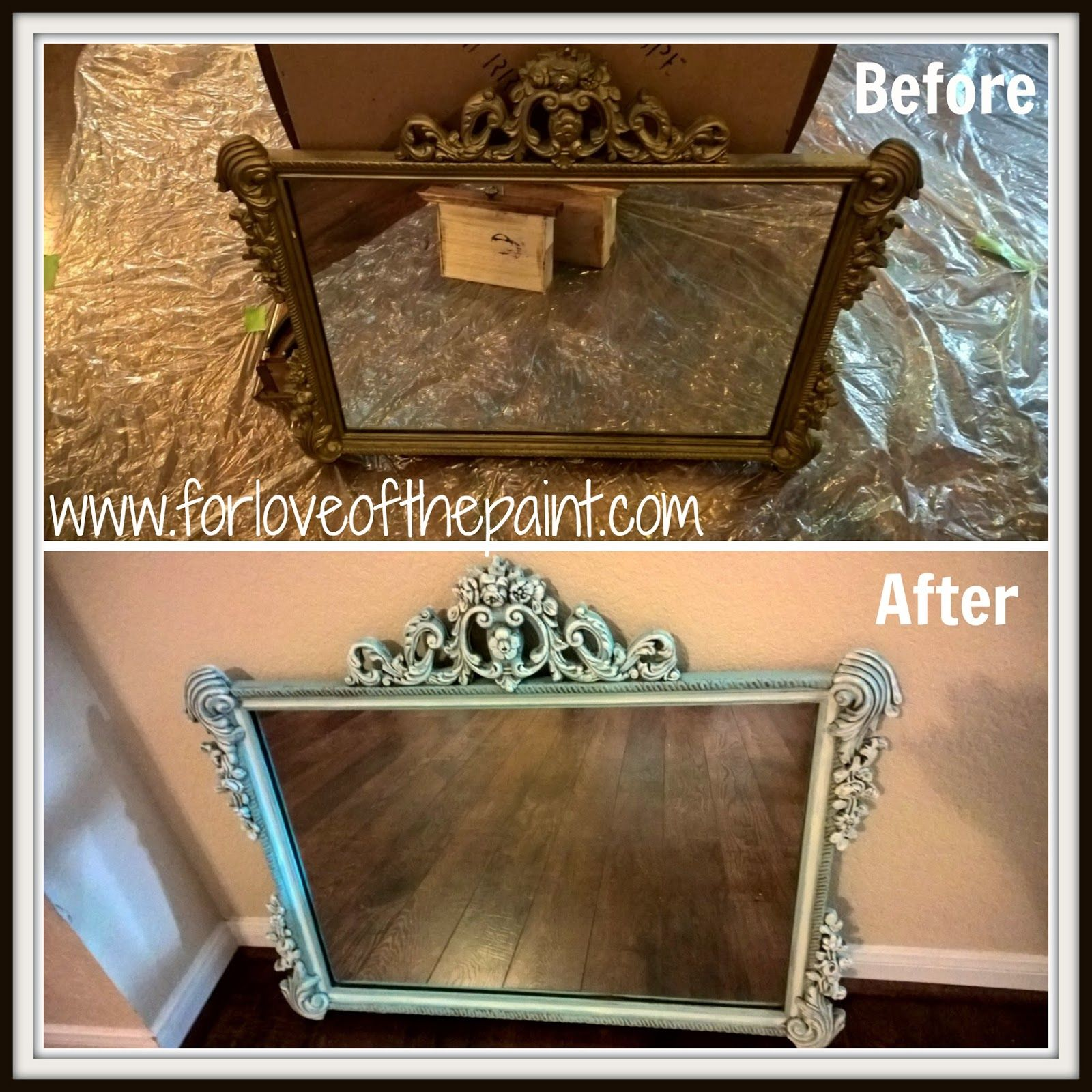 Before And After Antique Carved Wood Mirror In Duck Egg Blue Old White By For Love Of The Paint