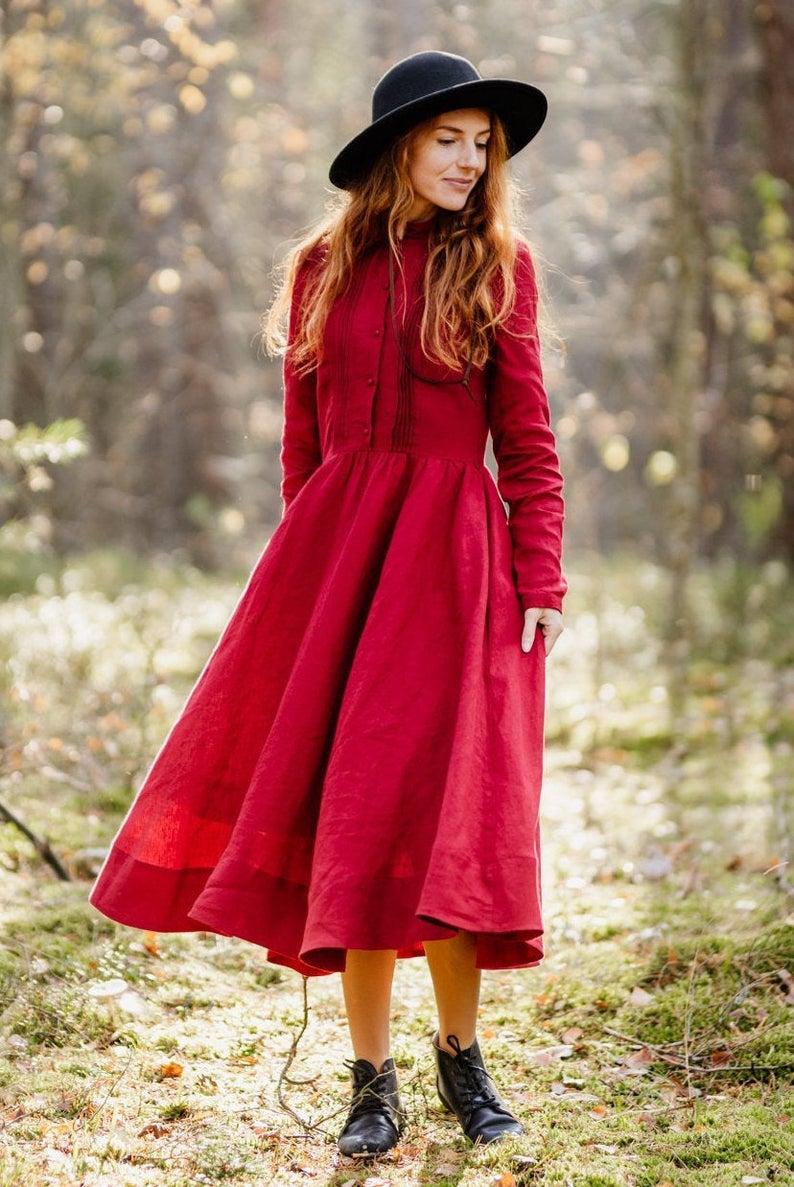 Dress For Women, Little Women Dress, Red Linen Dress