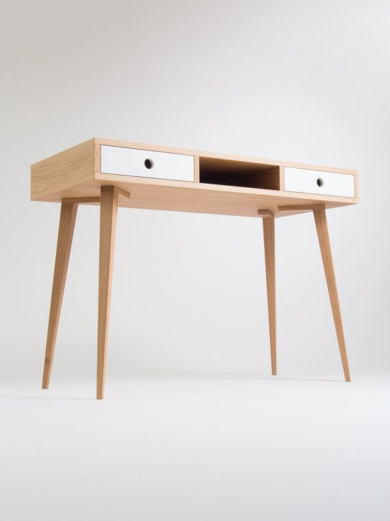 Home Office Computer Desk Bureau Dressing Table With White Drawers And Painted Legs Oak Wood Customized Size And Finish In 2020 Work Office Decor Desk Furniture