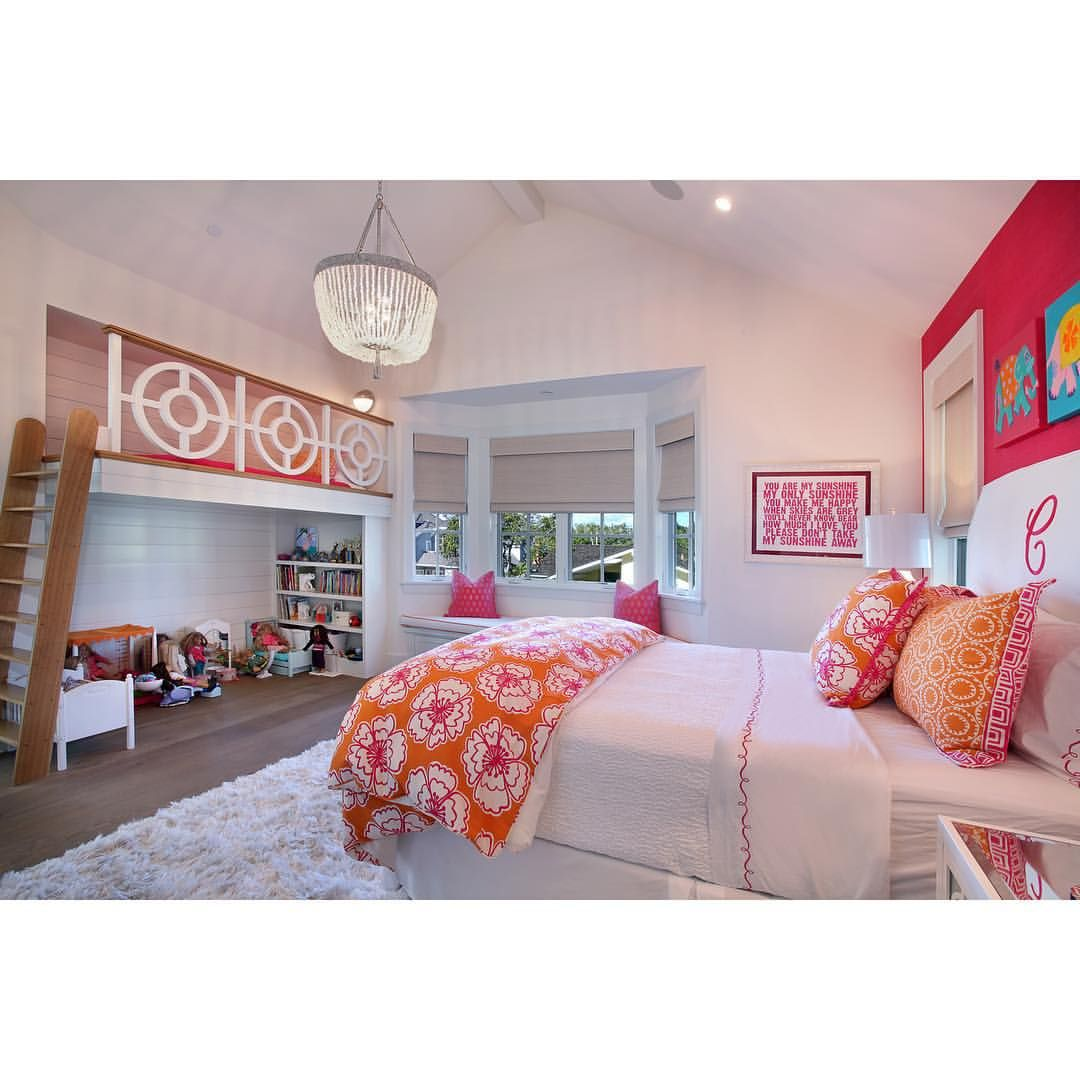 """Patterson Custom Homes on Instagram: """"A splash of pink, a dash of orange, AND a loft bed? This bedroom is all of our #childhooddreams rolled into one! #magical #kidsroom #sweetdreams #pattersoncustomhomes #thenewstandard @brandonarchitects"""""""