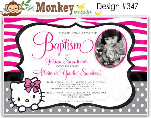 Zebra print hello kitty inspired birthday baptism or baby shower zebra print hello kitty inspired birthday baptism or baby shower invitations or thank you stopboris Image collections