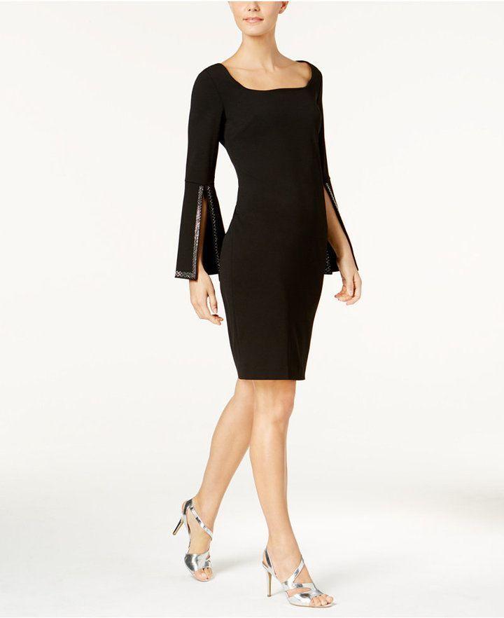 Calvin Klein Embellished Split Sleeve Dress   Dresses