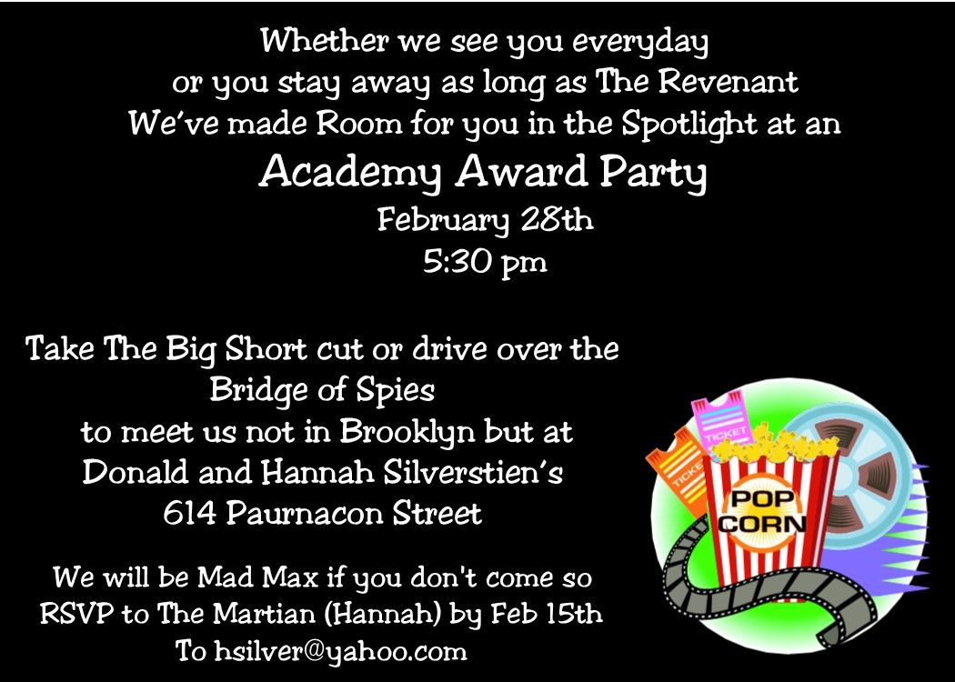 academy awards party invitations with wording using the best picture