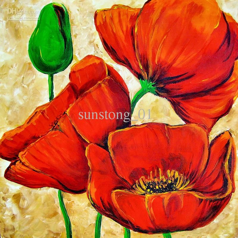 Wholesale Bright Coloured Flower Painting Abstract Flower Art Painting Home Decorative Flower Paintings Free