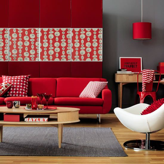 Modern Living Room Design Decorated With Vibrant Red Furniture And Accessories Via Room Envy