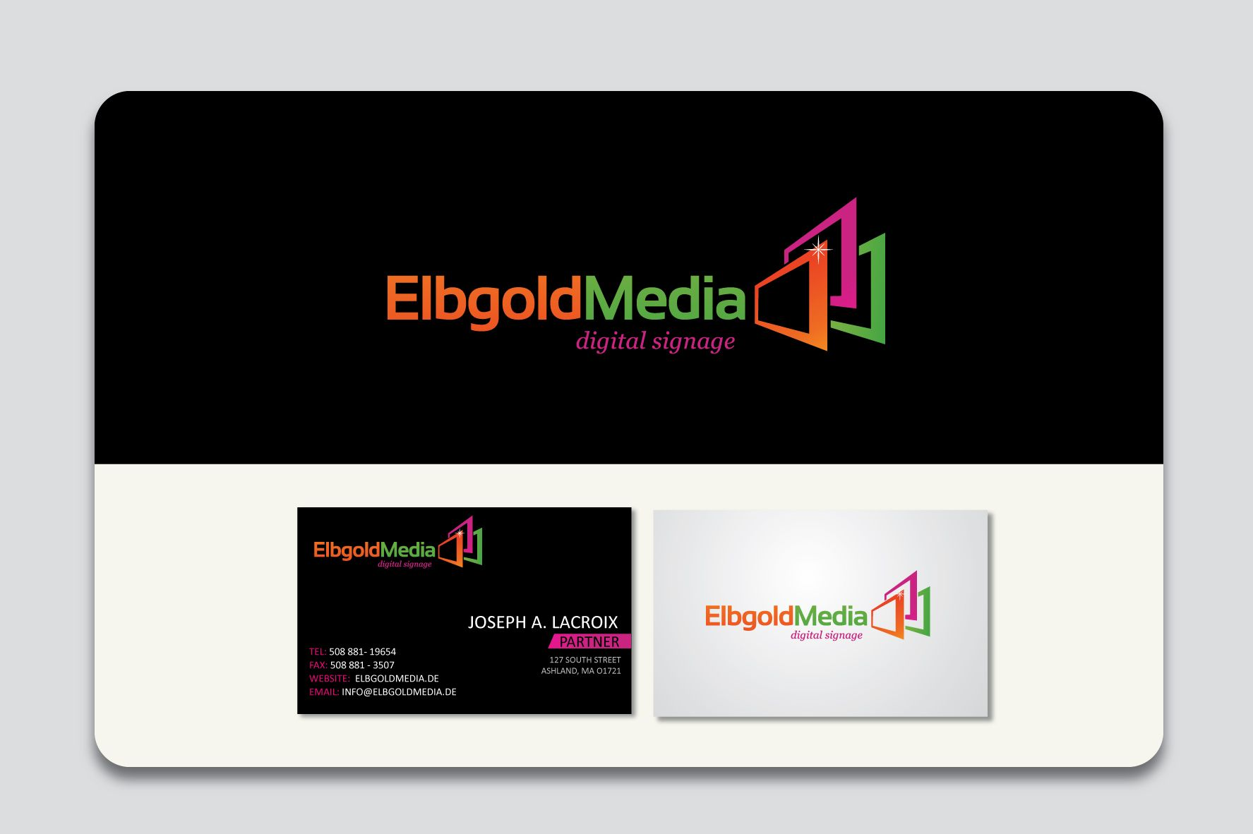 Logo and business card design elbgold media is a provider of logo and business card design elbgold media is a provider of digital signage and deals with the consultation design creation and operation of digital colourmoves