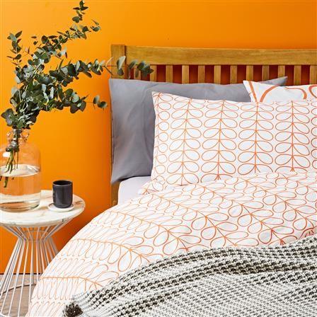 Orla Kiely Large Linear Stem King Duvet Cover Set Persimmon King Duvet Cover Sets Duvet Cover Sets Home Goods