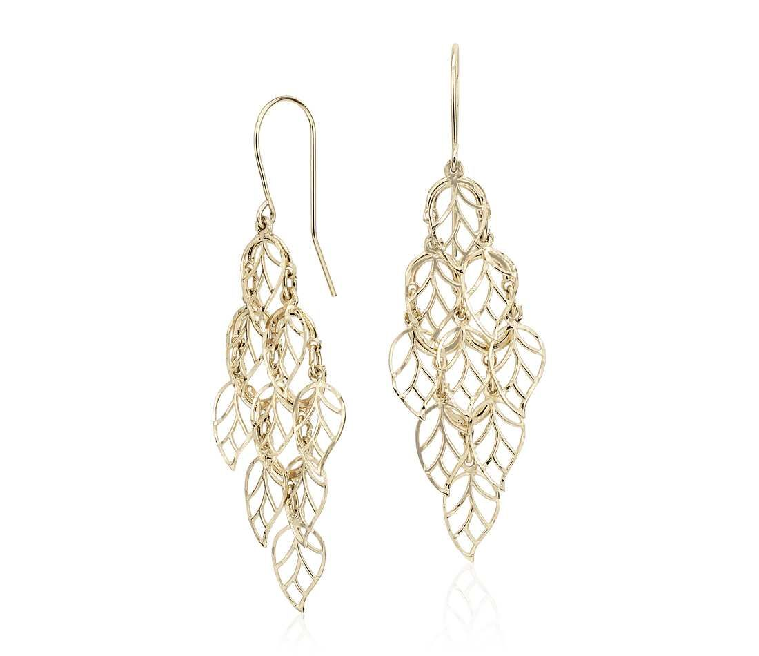 Leaf Chandelier Drop Earrings in 14k Yellow Gold | Chandelier ...
