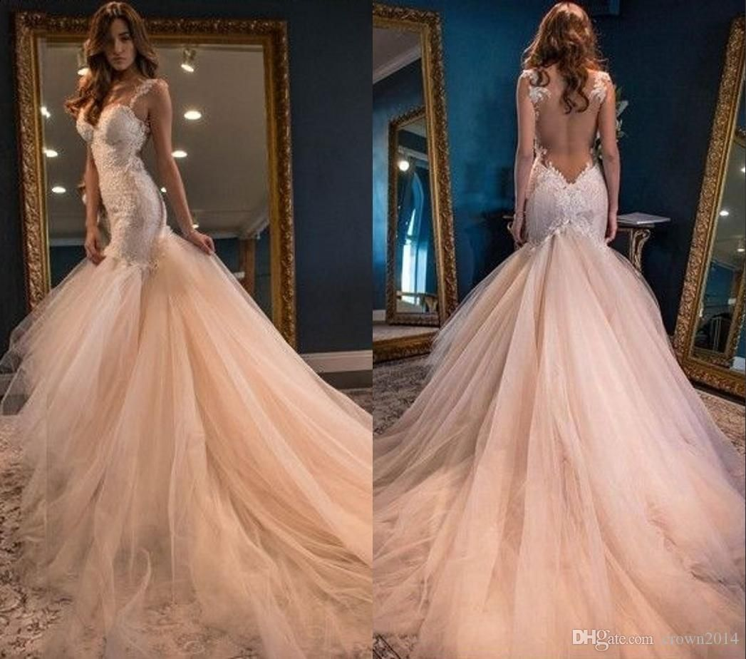 vintage boho summer blush mermaid wedding dresses luxury