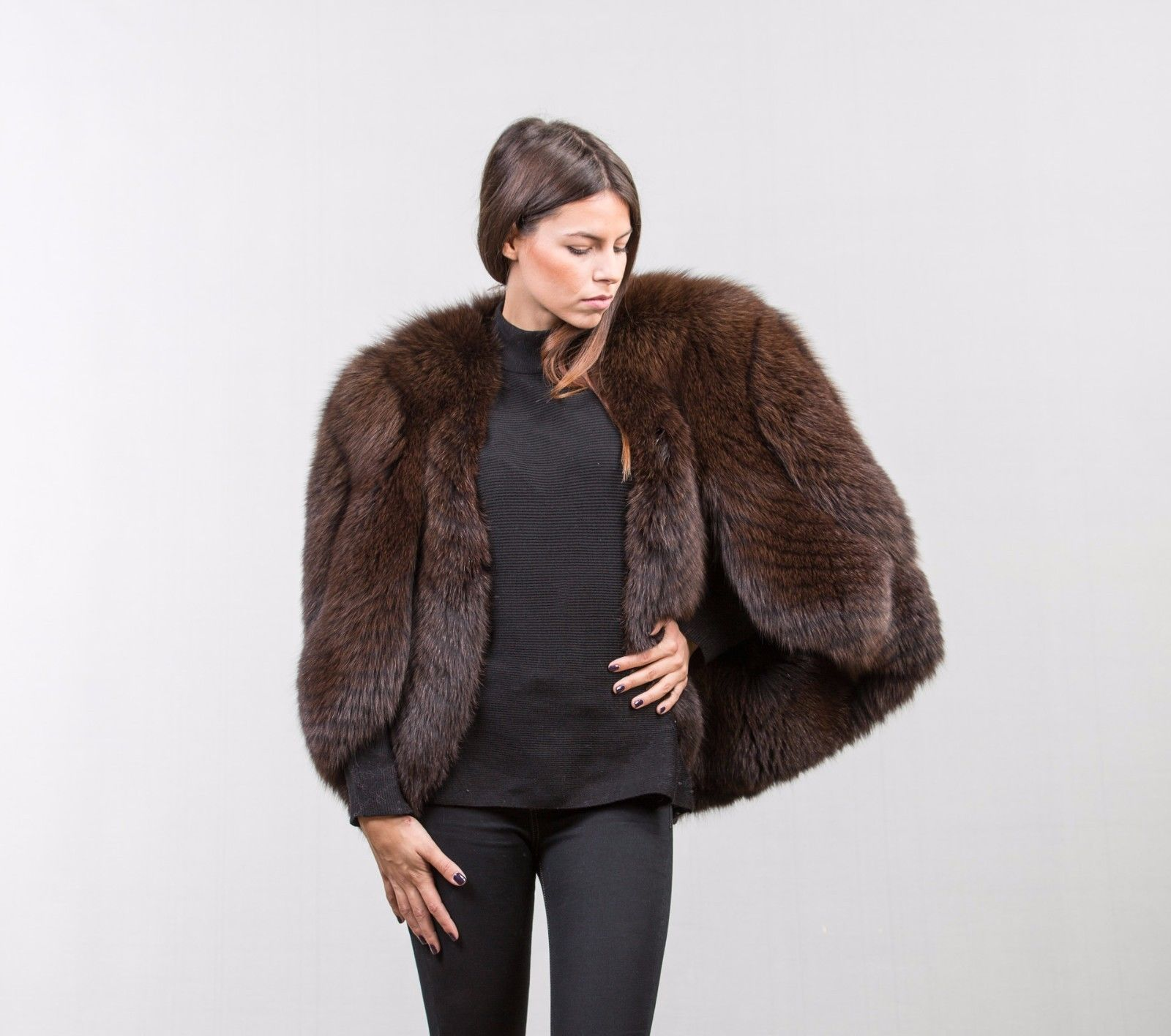 Brown fox fur cape class of fox chinchilla mink lynx sable | Fur ... for Sable Fur Cape  557yll