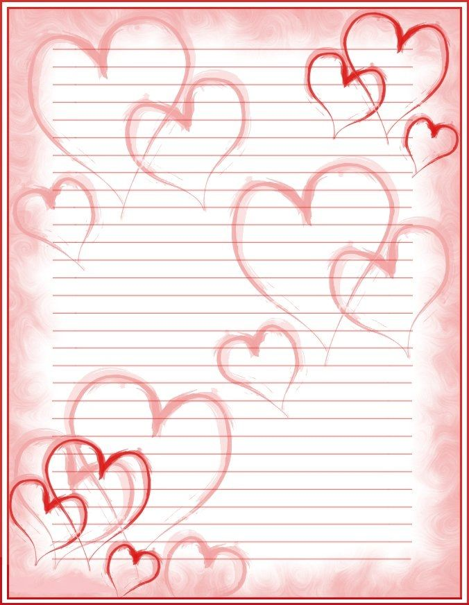 Heart Background Lined Valentines Day  Friendship Paper